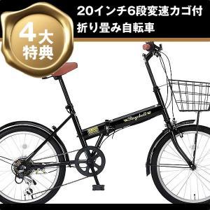折り畳み自転車 20インチ6段変速カゴ付折りたたみ自転車 FB-206R (BK)(OTOMO Raychell FB-206R) (24212)|ms-ad