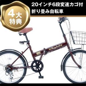 折り畳み自転車 20インチ6段変速カゴ付折りたたみ自転車 FB-206R (ブラウン 35650) (OTOMO Raychell FB-206R)|ms-ad