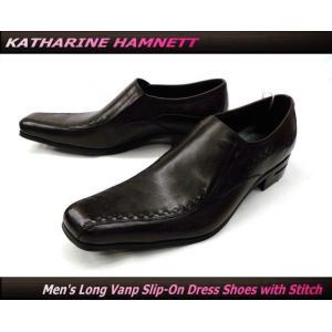 KATHARINE HAMNETT キャサリンハムネット ビジネスシューズ 紳士靴 ロングノーズ ヴァンプ スリッポン 本革(ダークブラウン/茶)31420(31180)|ms-style-shop