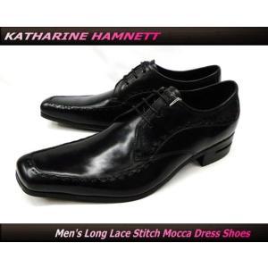 KATHARINE HAMNETT キャサリンハムネット ビジネスシューズ 紳士靴 紐 ロングノーズ ステッチ モカシン 本革(ブラック/黒)31422(31182)|ms-style-shop