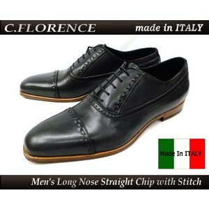 イタリア製 C FLORENCE フローレンス(フィレンツェ) 靴 ビジネスシューズ ロングノーズ 紐 ストレートチップ ステッチ(グレー(ブラック)) b2561 本革 革底|ms-style-shop