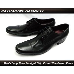 KATHARINE HAMNETT キャサリンハムネット 紳士靴 ビジネスシューズ ロングノーズ レース外羽根 ストレートチップ ラウンドトゥ  本革(ブラック)31441(31291)|ms-style-shop