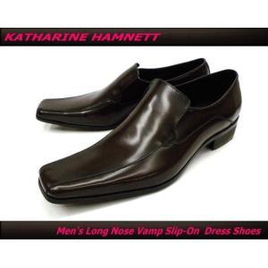 KATHARINE HAMNETT キャサリンハムネット ビジネスシューズ 紳士靴 ロングノーズ ヴァンプ スリッポン 本革(ダークブラウン/茶)3946|ms-style-shop