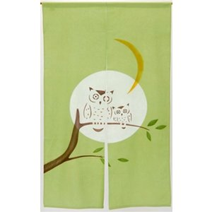 和風のれん フクロウ 85cm×150cm 綿100% 目隠し 間仕切り 和風暖簾|ms-style-shop