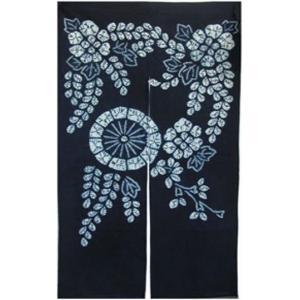 和風のれん 花柄 濃紺 85cm×150cm 綿100% 目隠し 間仕切り 和風暖簾|ms-style-shop