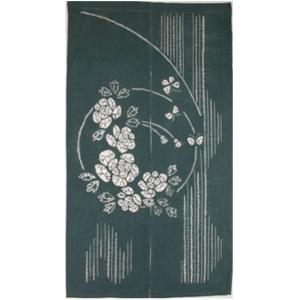 和風のれん 花柄 濃緑 85cm×150cm 綿100% 目隠し 間仕切り 和風暖簾|ms-style-shop
