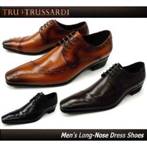 TRU TRUSSADI トラサルディ tr10251 (ブラック/黒・ブラウン/茶) 脚長4.0cmヒール 紳士靴 ビジネスシューズ 本革 外羽根 ワンサイドステッチモカ|ms-style-shop