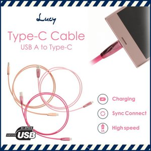 【Lucy Pink Edition】Type-C(A to Type-C)規格の通信・充電ケーブル...