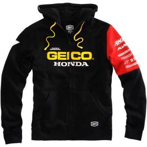 100% 100パーセント Geico Honda Factory Hoody ガイコ ホンダ ファクトリー ジップアップ フリース パーカー|msi1