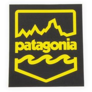 パタゴニア ステッカー バッジ PATAGONIA シール 黒 黄色 フィッツロイ 波 ウェーブ ロゴ シール デカール カスタム 新品 メール便 同梱可