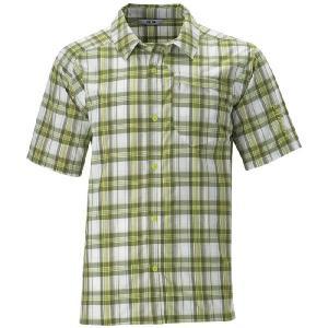 Sale! SALOMON アウトドアシャツ TRACKS SHIRT サロモン トラックスシャツ オリーブ/ホワイト/Sグリーン|msp