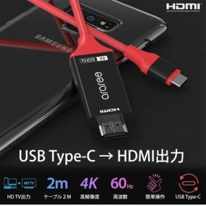 <araree> USB Type-C to HDMI Cable デバイスのUSB Type-C 端子に差し込みHDMIモニターディスプレイを駆動し、データ転送が可能 AR15990|msquall-y