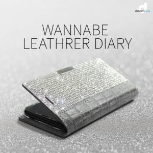 <dreamplus(ドリームプラス)>【iPhone X/XS 5.8インチ】 手帳型 Wannabe Leathrer Diary 本革+ラインストーン レザー部分は型押しやエナメル DP10143i8|msquall-y