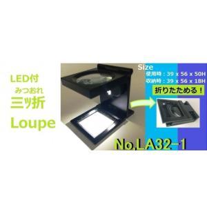 拡大鏡・ルーペの光学機器専門メーカー 京葉光器<三ツ折型/ライト付/スケールルーペ>三つ折 LED ルーペ(6x) LA32-1|msquall-y