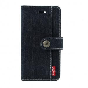 <LEVI'S(リーバイス) >【iPhone 8/7 4.7インチ】 手帳型 デニム ジーンズ生地で作ったジーンズケース オリジナルリベットボタン付きベルト LEVI-iP7-belt|msquall-y