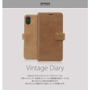 <Zenus(ゼヌス)>【iPhone XS Max 6.5インチ】 手帳型 Vintage Diary 使い込むごとに味の出るヌバックレザーを使用、使い手によって個性がでて変化 Z14236i65|msquall-y