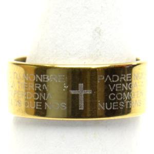 デザイン ステンレス リング  聖書の言葉  クロス ゴールドカラー 15号 シンプル  指輪 h-re950  yy|msr-club