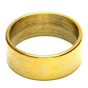 デザイン ステンレス リング  聖書の言葉  クロス ゴールドカラー 15号 シンプル  指輪 h-re950  yy|msr-club|02
