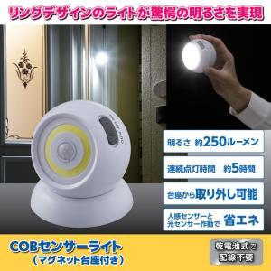 センサーライト 屋外 LED 人感センサーライト 明暗センサー COBセンサーライト (マグネット台座付き) SV-6360 GT812021 (210764)(GT)|msstore-1147