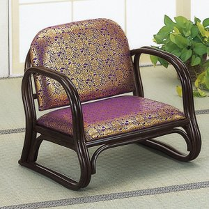 籐の椅子 籐椅子 正座椅子 座椅子 ラタンチェア 和座椅子 和風 法事 お寺 背もたれ付き 膝にやさしい 金襴思いやり座椅子 ロータイプ S-130B (250767)(IE)|msstore-1147