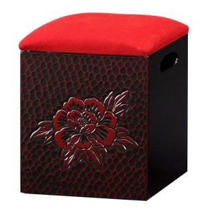 日本製 鎌倉彫 箱イス T5486(290157)送料無料(KH)スツール収納(ms)|msstore-1147