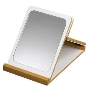 卓上鏡 フォールディングミラー ホワイト&ナチュラル(290196)(M2322)送料無料(KH)折りたたみ 卓上ミラー(ms)|msstore-1147