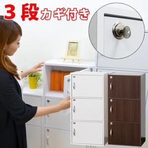 扉付き カラーボックス 収納 カラーボックス 3段 縦置き 横置き A4収納 収納棚 鍵付 カラーボックス 3段 (39300-kr)(KR) msstore-1147