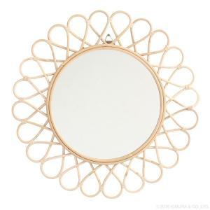 鏡 ミラー ウォールミラー 壁掛け ラタン サンミラー 花型 径60cm Q16353ND (50668)(RW)|msstore-1147