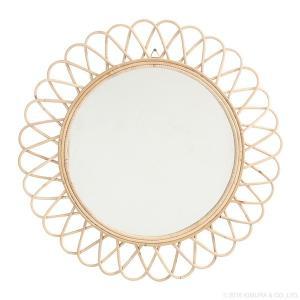 鏡 ミラー ウォールミラー 壁掛け ラタン サンミラー 花型 径70cm Q17454ND (50669)(RW)|msstore-1147