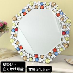 鏡 ミラー ウォールミラー スタンドミラー 卓上ミラー 八角ミラー クリスタル調 ミラー カラフル DS-005 (81009)(kr)|msstore-1147