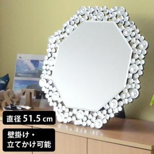 鏡 ミラー ウォールミラー スタンドミラー 卓上ミラー 八角ミラー クリスタル調 ミラー DS-006 (81016) (kr)|msstore-1147