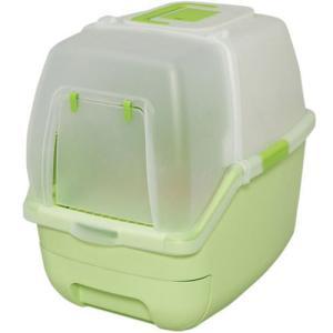 アイリスオーヤマ 猫用システムトイレ 楽ちん猫トイレ フード付きセット グリーン RCT-530F 在庫一掃処分 外装汚れ 訳あり特価|mtd