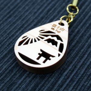 ストラップ(富士山と鳥居)/ 富士山麓ひのき製(檜製・木製)|mtfujiwood
