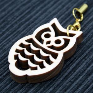 ストラップ(フクロウA)/ 富士山麓ひのき製(檜製・木製)|mtfujiwood