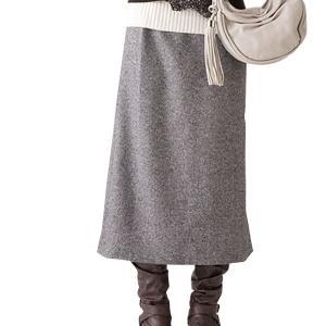 ツイード素材のらくちんスカート グレー系3L|mtmlife