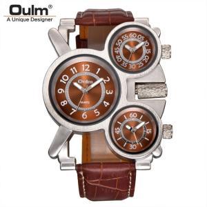 メンズ 腕時計 Oulm 海外ブランド クオーツ スチームパンク レトロ レザーバンド 3タイムゾー...