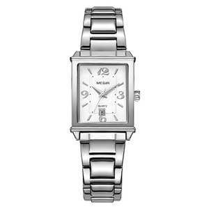 女性腕時計 ブレスレットウォッチ ラグジュアリー クォーツ腕時計 防水 シルバー