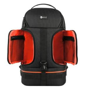 Dslr 防水耐衝撃肩カメラバックパック三脚 オレンジ w/リフレクターストライプフィット 15.6