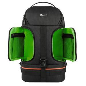 Dslr 防水耐衝撃肩カメラバックパック三脚 グリーン w/リフレクターストライプフィット 15.6