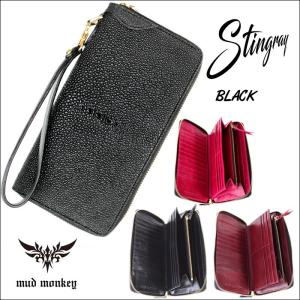 長財布 スティングレー BLACK/ラウンドファスナー メンズ|mudmonkey