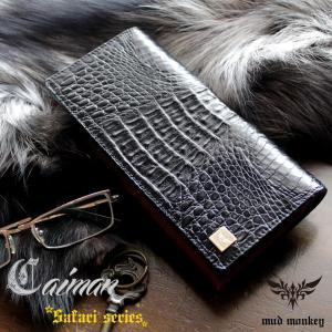 ワニ革カイマン長財布/ブラック/イタリアンレッド/カード収納20枚|mudmonkey