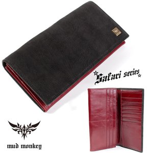シャーク・サメ 長財布/ブラック/イタリアンレザーレッド/カード収納20枚|mudmonkey