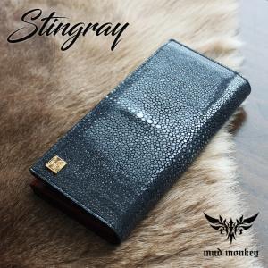 スティングレイ・エイ 長財布/ポリッシュブラック/イタリアンレザーRED/カード収納20枚|mudmonkey