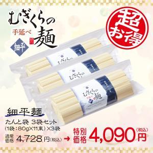 たんと袋 細平麺3袋セット(80g×33束)うどん ざる 冷やし にゅうめん つけ麺 ほっと麺 かけうどん そうめん ひやむぎ MFR-880G3P|mugikura