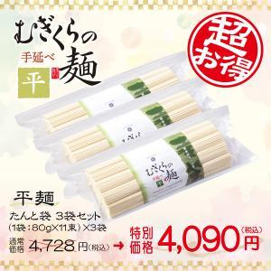 たんと袋 平麺3袋セット(80g×33束)うどん ざる 冷やし にゅうめん つけ麺 ほっと麺 かけうどん そうめん ひやむぎ MFH-880G3P|mugikura