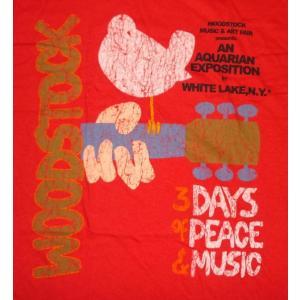 ウッドストック Tシャツ WOODSTOCK 赤 正規品 ロックTシャツ バンドTシャツ mumbles