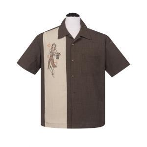 ステディ クロージング 半袖 ボウリング シャツ フラ ガール オープンカラー パネル 半袖シャツ Hula Girl|mumbles