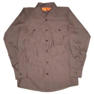 レッド キャップ 長袖 ワークシャツ RED KAP 茶|mumbles