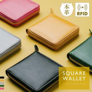 財布 二つ折り ファスナー ラウンドファスナー 本革 やぎ革 スクエア レザー レディース小さめ 薄い コンパクト 二つ折り財布 mura