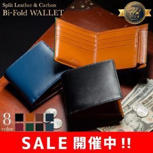 財布 二つ折り財布 メンズ カーボンレザー 本革 小銭入れ 革 コードバン調 大容量|mura